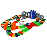 MMP Living Super Snap Speedway - Deluxe bend and flex track set with 3 electric cars, tunnels, bridge, elevator, ramp, track merge and accessories - over 318 pieces