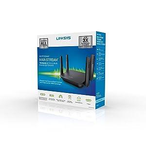 Linksys AC3000 Max-Stream Tri-Band Wi-Fi Range Extender, Black (RE9000) (Color: Black, Tamaño: AC3000)
