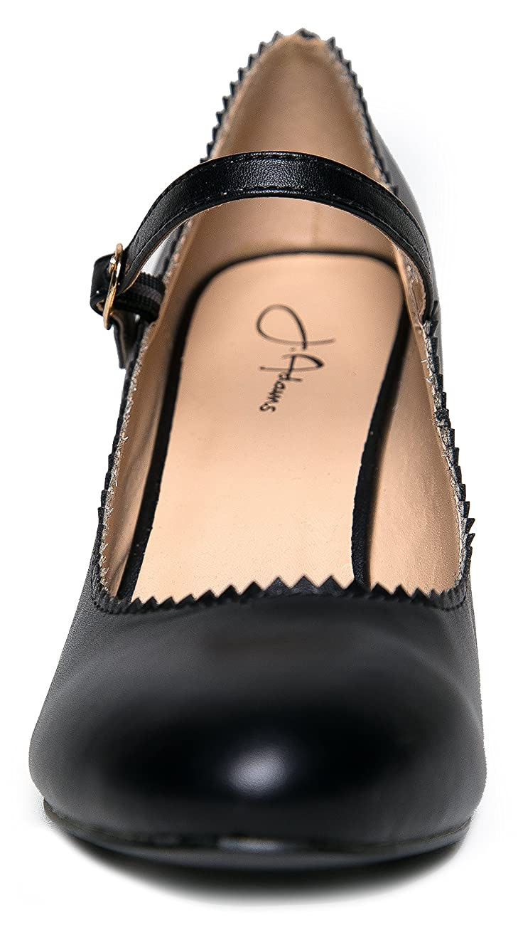 Mary Jane Kitten Heels – Vintage Retro Scallop Round Toe Shoe With An Adjustable Strap - Honey By J. Adams 4