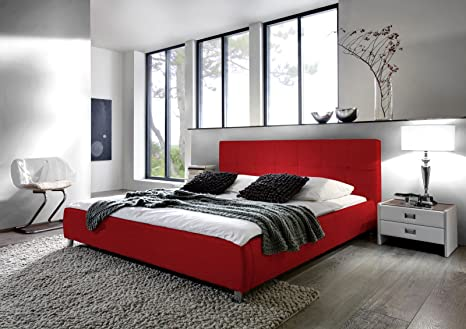 SAM® Polsterbett Bett Zarah in Rot 180 x 200 cm Chrom farbene Fuße modernes Design Farbton Kopfteil abgesteppt Wasserbett geeignet