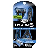Schick Hydro 5 Disposable Razors For Men With Flip Beard Trimmer, 3 Count