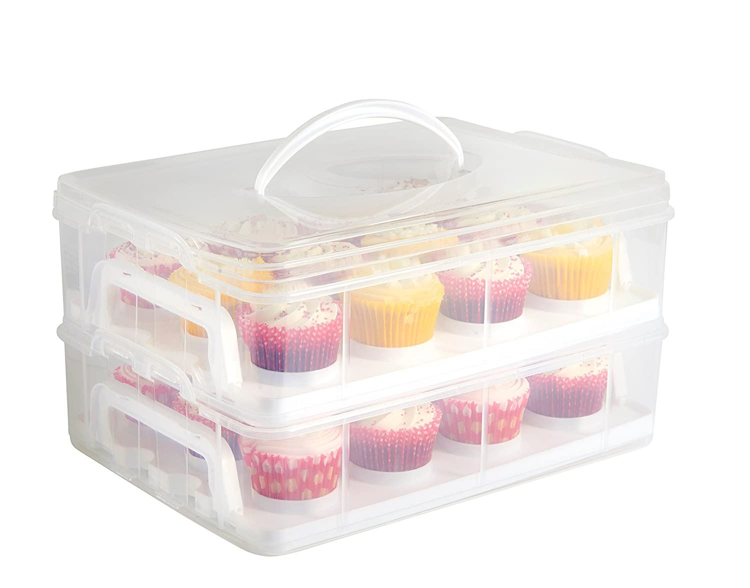 VonShef Snap and Stack Cupcake Storage Carrier 2 Tier - Store up to 24 Cupcakes or 2 Large Cakes цена и фото