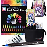 Gift Pack 30 Watercolor Brush Pens, Matching Messenger Bag and Watercolor Pad, Custom Folding Upright Pen Case, 24 Colors 6 Water Brushes, Real Nylon Brush Tips, Watercolor Painting, Low Mess, Panda (Color: Panda)