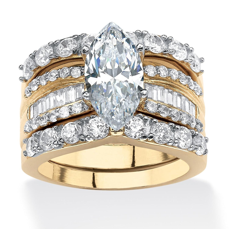 Verlobungsring-Set – Damen – 4,55ct. Zirkonia – Marquise-Schliff – 18kt. Vergoldetes Sterlingsilber – 3-tlg. online kaufen