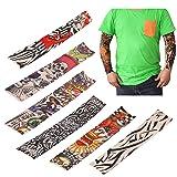 LEMONBEST 6 pcs Nylon Fake Temporary Tattoo Sleeves Sun Protection Arm Stockings Accessories Kit For Men Women Halloween Costume (Tamaño: length: 400mm)