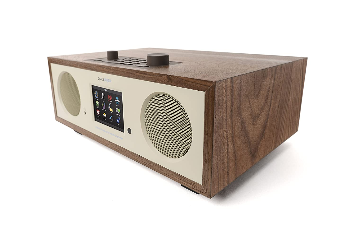 "Grace Digital GDI-IRC7505 Stereo Wi-Fi Music System with 3.5"" Color Display (Walnut)"