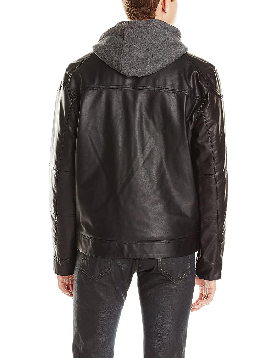 Calvin Klein Men's Faux-Leather Moto Jacket with Hoodie at Amazon Men's Clothing store