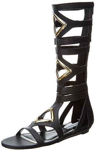 Steve Madden Women's Arisotle Gladiator Sandal,Black,6 M US