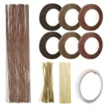 Floral Arrangement Tool Kit, Woohome Floral Kit with 2 Style Floral Tapes, 26 Gauge Stem Wire, Brown Cable Tie and Bamboo Stick for Floral Design Lovers (Color: Brown)