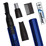 Wahl 3-in-1 Lithium Pen Detail Trimmer with Interchangeable Heads for Nose, Ear, Neckline, Eyebrow, & Other Detailing - Rinseable Blades for Hygienic Grooming & Easy Cleaning - Model 5643-300 (Color: Blue)
