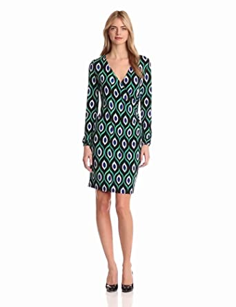 Jones New York Women's 3/4 Sleeve Wrap Dress, Black Combo, Small
