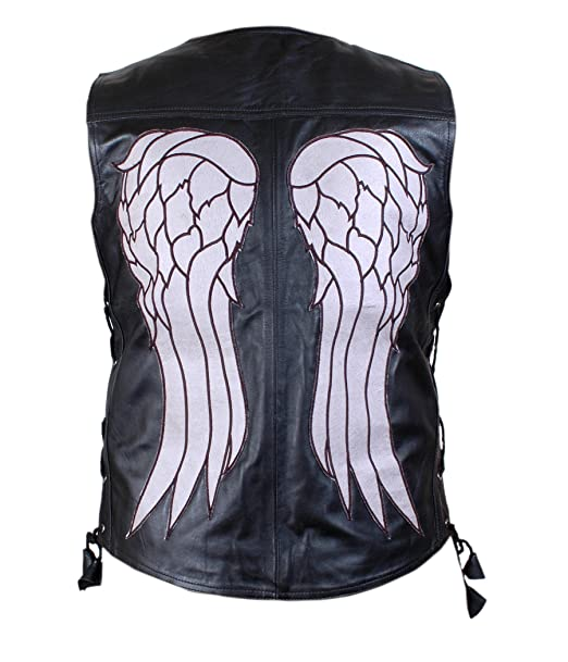 THE WALKING DEAD GOVERNOR - DARYL DIXON ANGEL WINGS LEATHER VEST JACKET - BNWT - Extra Small