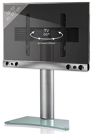 "VCM ""Sbm300"" TV-Pedestal Plus Soundbar and Holderr, Silver/Matt Glass"