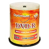 Optimum DVD-R 16x 4.7GB / 120min White Inkjet Printable 100pk with Spindle Cake Box (Color: DVD-R White Inkjet Printable, Tamaño: 100-Disc spindle box)
