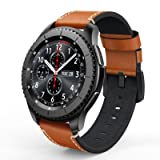 SWEES Leather Bands Compatible Gear S3 Frontier & Classic and Galaxy Watch 46mm, Genuine Leather 22mm Strap Replacement Wristband Compatible Samsung Gear S3 Smartwatch, Brown (Color: Brown)