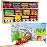 Orbrium Toys 12 (20 Pcs) Wooden Engines & Train Cars Collection + Dual-use Wooden Box Cover/Tunnel Wooden Train Set Compatible with Thomas Wooden Railway, Thomas the Tank Engine, Brio