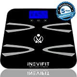 INEVIFIT Body-Analyzer Scale, Highly Accurate Digital Bathroom Body Composition Analyzer, Measures Weight, Body Fat, Water, Muscle, BMI, Visceral Levels & Bone Mass for 10 Users. 5-Year Warranty (Color: Black, Tamaño: X-Large)