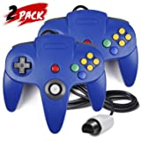 2 Pack N64 Controller, iNNEXT Classic Wired N64 64-bit Gamepad Joystick for Ultra 64 Video Game Console N64 System Mario Kart (Blue) (Color: Blue)