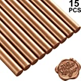 15 Pieces Glue Gun Sealing Wax Sticks for Retro Vintage Wax Seal Stamp and Letter, Great for Wedding Invitations, Cards Envelopes, Snail Mails, Wine Packages, Gift Wrapping (Red Copper) (Color: Red Copper)