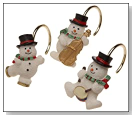 Snowman Band Ceramic Resin Shower Curtain Hooks