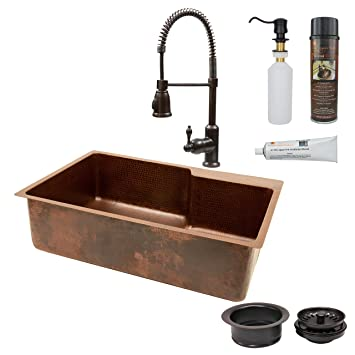Premier Copper Products KSFDB33229 33-Inch Kitchen Single Basin Sink with Space for Faucet and Spring Pull Down Faucet Package, Oil Rubbed Bronze