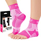 Mava Ankle Brace Compression Sleeve - Relieves Achilles Tendonitis, Joint Pain. Plantar Fasciitis Foot Sock with Arch Support Reduces Swelling & Heel Spur Pain. Injury Recovery for Sports (Color: Pink, Tamaño: L-XL)