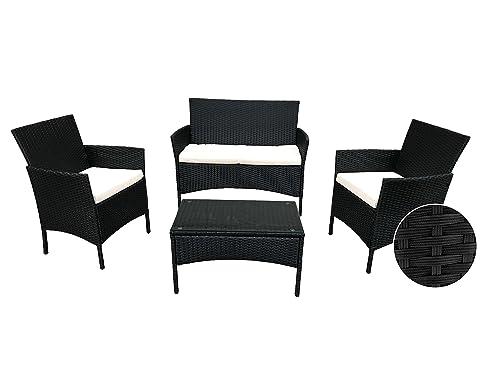 Set Giardino salottino in simil rattan colore nero composto da divanetto poltrone e tavolino con top in vetro - completo di cuscini beige