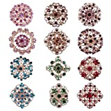 Mutian Fashion Lot 12pc Multi-Color Rhinestone Crystal Flower Brooches Pins