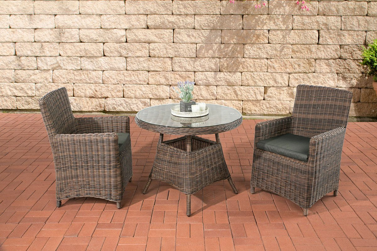 clp sitzgruppe quito braun meliert aus 5 mm rund rattan mit aluminium gestell 2 sessel runder. Black Bedroom Furniture Sets. Home Design Ideas