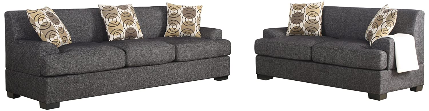 Poundex Montereal 2-Piece Sofa and Loveseat Collection Set with Faux Linen fabric - Ash Black Color