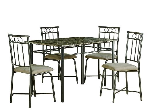 Cappuccino Marble/ Bronze Metal 5 Piece Dining Set