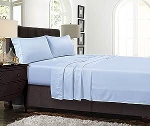 Tribeca Living TENC300SSCKBL 300 Thread Count Tencel Deep Pocket Sheet Set, Spa Blue, Cal King