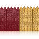 Bememo 12 Pieces Sealing Wax Sticks with Wicks Antique Fire Manuscript Sealing Wax for Wax Seal Stamp (Flashing Wine Red and Gold) (Color: Flashing Wine Red and Gold)