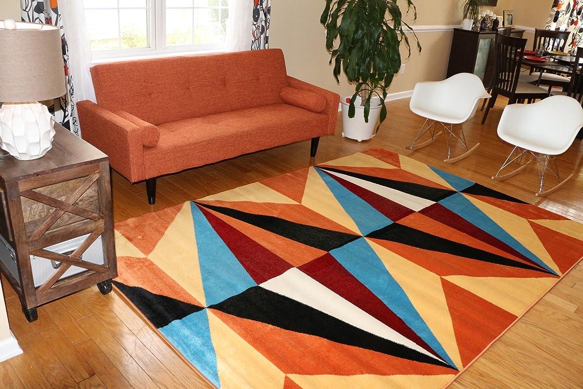 Feraghan/New City Shapes Geometric Contemporary Modern Area Rug, 7 x 10, Yellow/Orange/Blue