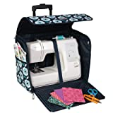 Everything Mary Teal Floral Collapsible Rolling Sewing Machine Tote - Sewing Machine Case Fits Most Standard Brother & Singer Sewing Machines, Sewing Bag with Wheels & Handle (Color: Teal Floral)