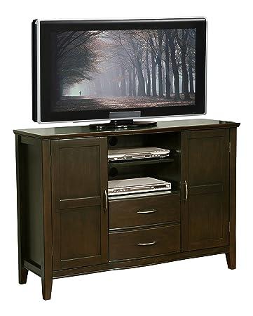 """Simpli Home Williamsburg Tall TV Stand, 52""""W x 36""""H, Dark Walnut Brown"""