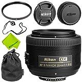 Nikon AF-S DX NIKKOR 35mm f/1.8G Lens Base Bundle (Color: 35MM 1.8 AFS, Tamaño: Base)