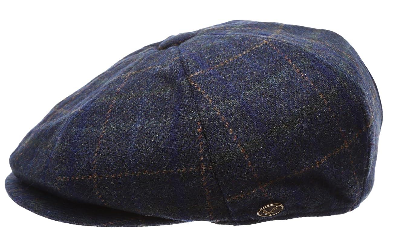 Men's Premium 100% Wool 8Panels Plaid Herringbone Newsboy Hat With MIRMARU Socks. 6