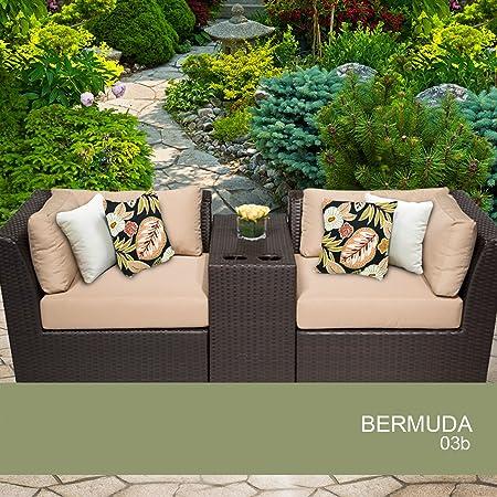 Bermuda 3 Piece Outdoor Wicker Patio Furniture Set 03B 2 Yr Fade Warranty