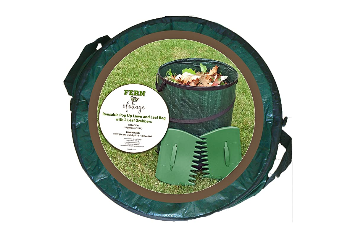 Lawn Bags Pop Up Leaf Bag with 2 Leaf Grabbers or Scoops - Heavy Duty 32 Gallon Reusable Collapsible Garden Bag or Yard Waste Container by Fern and Foliage
