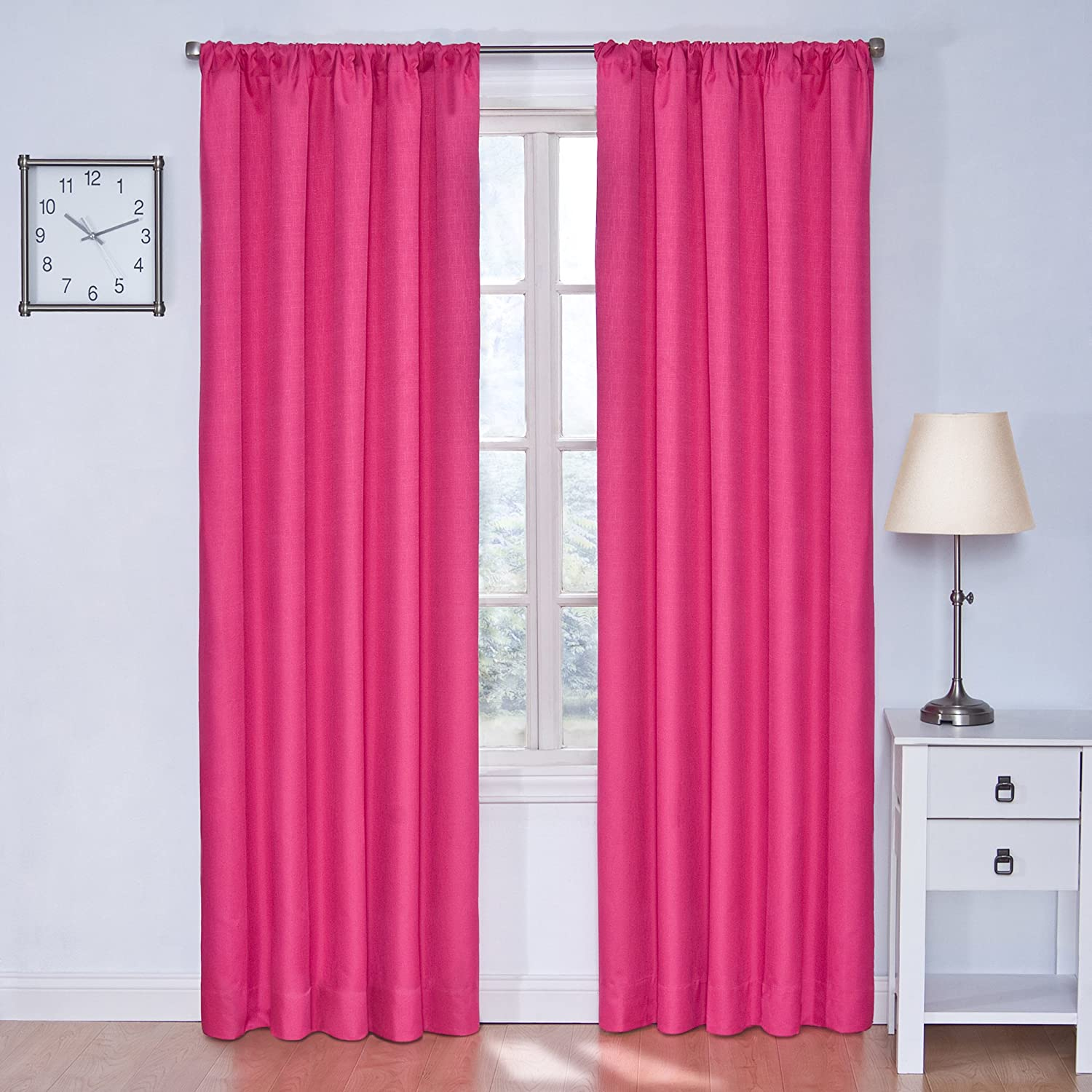 Eclipse Kids Kendall Blackout Thermal Curtain Panel,Raspberry