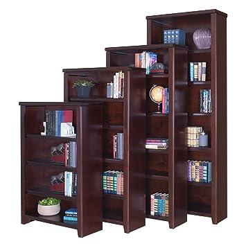 "Martin Furniture Kathy Ireland Tribeca Loft Burnt Umber Cherry Five-Shelf Open Bookcase 70"" H"