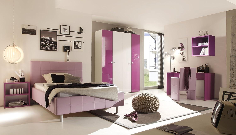 Jugendzimmer mit Bett 140 x 200 cm weiss/ lila günstig online kaufen