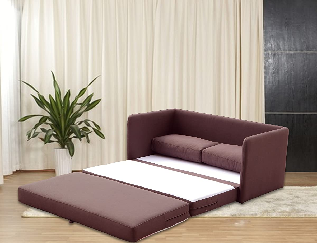 """US Pride Furniture Kathy Reversible 5.1"""" Foam Fabric Loveseat and Sofa Bed Couch Sleeper, Brown"""