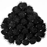500 Pieces Glitter Pompoms 1 Inch Fuzzy Pom Poms Arts and Crafts Making Balls for Hobby Supplies and Craft DIY Decoration (Black) (Color: Black)