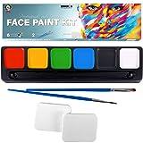 Face Paint Kit for Kids, Large Water Based Paints, Halloween Makeup Kit, Professional Face Paint Palette, Face Paints Safe for Sensitive Skin, Face Painting Book (6 Large Face Paint Colors Kit) (Tamaño: 6 Large Face Paint Colors Kit)