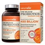 NatureWise Maximum Care Time-Release Probiotics: 30 Strains, 30 Billion CFU, Comparable to 450 Billion CFU with WiseBiotics Technology, Shelf Stable, Acid Resistant, 40 Caplets (Tamaño: 40 Caplets)