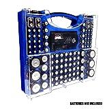 Battery Pro Organizer & Tester, Holds 100 Assorted Batteries - Blue (Color: Blue)