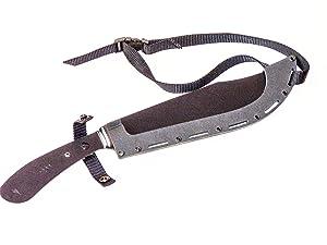 Southern Grind Grandaddy G2 Fixed Blade Machete W/Black Sheath (Color: Blade: textured black powder coat, Handle: black, Sheath: Black, Tamaño: Overall Length: 16.625  Handle Length: 5.75 Weight: Knife - 15 oz., Sheath - 6.4 oz.  Blade Thick)