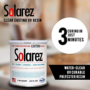 SOLAREZ UV Cure Clear Casting Resin (Quart) for DIY Jewelry, Hobby, Craft Decoration Making - Crystal Clear Solar Cure Molding and Casting Resin (Color: Clear, Tamaño: 4 Sizes)